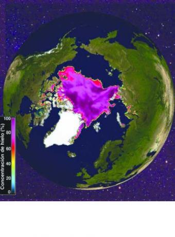 El casquete ártico se reduce al mínimo desde que se observa por satélite