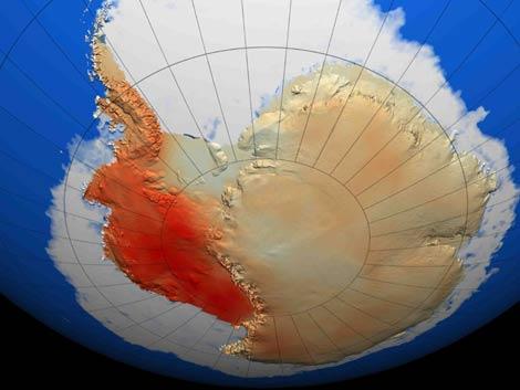 Imagen de la Antártida que muestra el calentamiento del continente, muy significativo en la parte occidental (rojo), significativo en la Península y ligero en la parte oriental. (Foto: 'Nature')